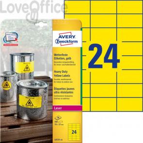 Etichette in poliestere AVERY giallo 70x37mm 20 fogli - L6131-20 (480 etichette)
