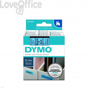Nastro per etichettatrici Dymo D1 12 mm x 7 m Nero/Blu S0720560