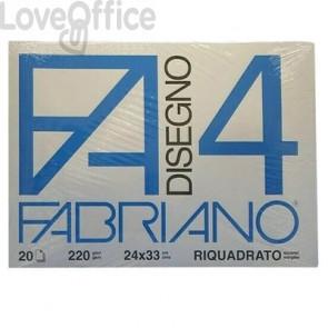 Album disegno Fabriano F4 - Liscio riquadrato - 24x33 cm - 220 g/mq - 20 fogli