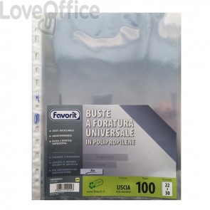 Buste a foratura universale A4 Liscio Super Clear Favorit - Air - 22x30 cm (conf.100)