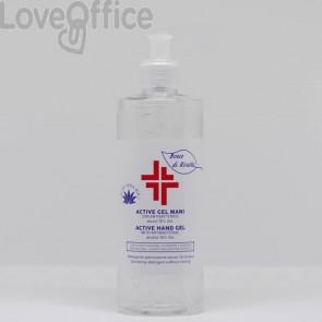 Gel igienizzante mani (alcol 70%) 500 ml con dosatore - Active linea Bosco di Rivalta - flacone trasparente cilindrico