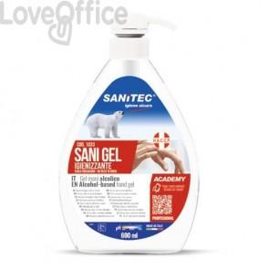 Gel igienizzante mani a base alcolica Sanitec Sani Gel Alcol 70% - trasparente - flacone 600 ml, con dosatore - 1033