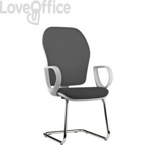 sedia ufficio grigia con gambe a slitta in fili di luce