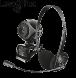 Kit telecamera+cuffie+microfono per smartworking