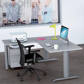 start up ufficio grigia con scrivania, allungo e cassettiera da 160 cm