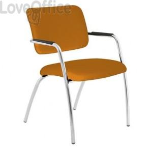 sedia da attesa arancione in polipropilene modello LITHIUM