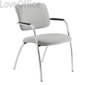sedia da attesa in pelle bianca modello LITHIUM