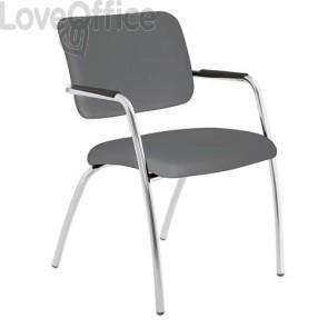 sedia da attesa in pelle grigia modello LITHIUM