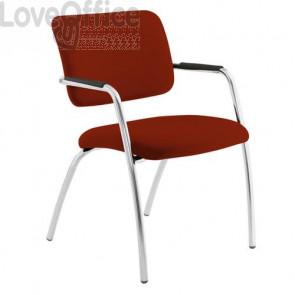 sedia da attesa rosso mattone in fili di luce modello LITHIUM