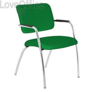 sedia da attesa verde in polipropilene modello LITHIUM