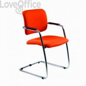 Sedia da ufficio arancione operativa in polipropilene