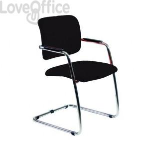 Sedia da ufficio in pelle nera modello lithium