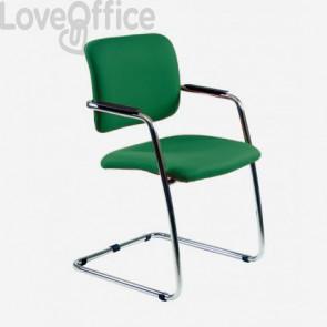 Sedia da ufficio verde modello LITHIUM in polipropilene