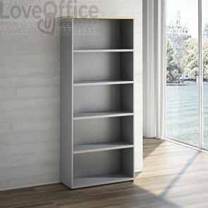 elegante libreria a giorno grigia con top color acero