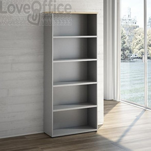 elegante libreria a giorno grigia con top color rovere