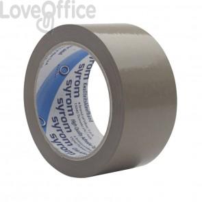 Nastri da imballo in PVC Syrom - silenzioso - 50 mm x 66 m - Avana - 50my (conf. 6)