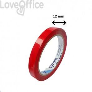 Nastro adesivo per chiusura sacchetti Syleco Syrom - 12 mm x 66 m - rosso (conf.12)