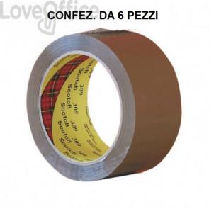 Nastri da imballo Scotch® 309 in acrilico a rumorosità ridotta 50 mm x 66 m - Marrone (conf. da 6)