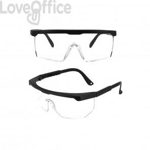 Occhiali di protezione riutilizzabili in policarbonato trasparente - 15,5x5,4 cm - 470405