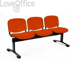 Panca 4 posti da attesa arancione
