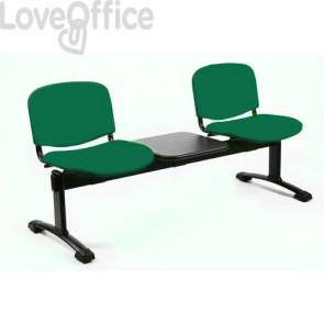 panca da attesa verde con tavolo 3 posti