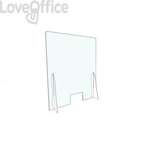 Pannello separatore di sicurezza para fiato 60x80 cm in plexiglas trasparente spessore 3 mm - con appoggi