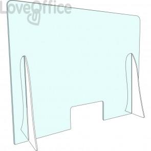 Pannello separatore di sicurezza para fiato 70x45 cm in plexiglas trasparente spessore 3 mm - con appoggi