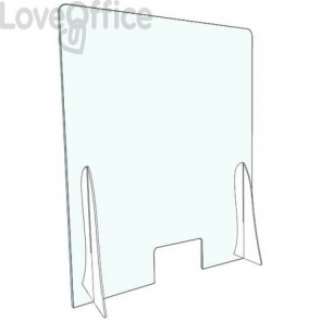 Pannello separatore di sicurezza para fiato 70x90 cm in plexiglas trasparente spessore 3 mm - con appoggi