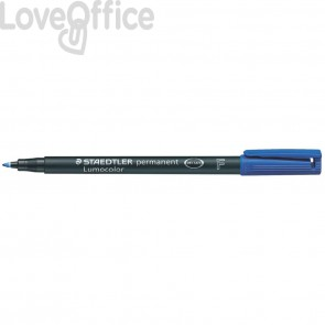 Penna a punta sintetica Staedtler Lumocolor permanent pen 318 F Blu