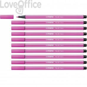 STABILO pen 68 Fluo - pennarelli rosa fluorescenti - 1 mm - dai 7 anni (conf.10)
