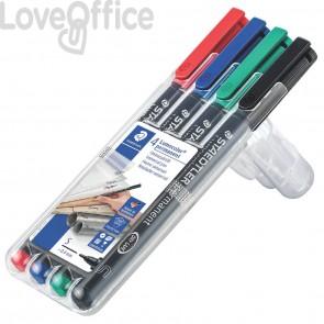 Penne a punta sintetica Staedtler Lumocolor permanent pen 313 S- Astuccio da 4 pezzi colori assortiti