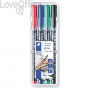 Penne a punta sintetica Staedtler Lumocolor permanent pen 317 M - Astuccio da 4 pezzi colori assortiti
