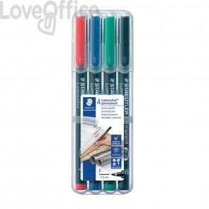 Penne a punta sintetica Staedtler Lumocolor permanent pen 318 F - Astuccio da 4 pezzi colori assortiti