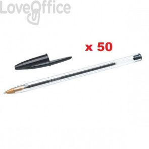 Penne a sfera Cristal® Bic - Medium Classic - nero - 1 mm - cappuccio (conf.50)