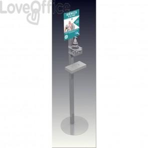 Piantana in metallo con supporti porta gel igienizzante e porta guanti 38x38x157 cm - grigia -Totem EPE