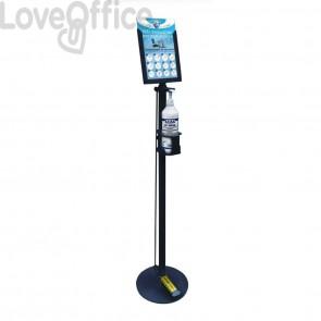 Piantana in metallo con dispenser da 1 litro per gel igienizzante - dosatore automatico a pedale - 32x150 cm