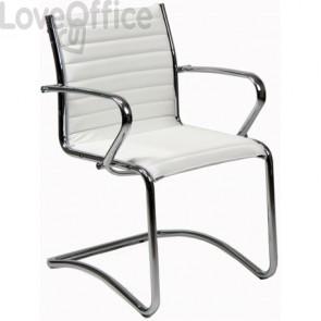 sedia da attesa bianco e cromo