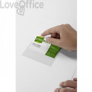 Tasche Adesive con Inserto in Cartoncino DURABLE POCKETFIX® - F.to biglietti da visita 5,7x9 cm - trasparente (conf. 100 pezzi)
