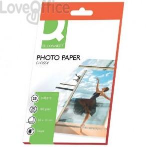 Carta fotografica Inkjet Q-Connect 10x15cm bianco 180 g/m² lucida - KF01905 (conf. da 25 fogli)