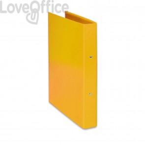 Raccoglitore ad anelli Iris Euro-cart - in carta plastificata - dorso 4 cm - 22x30 cm - Giallo