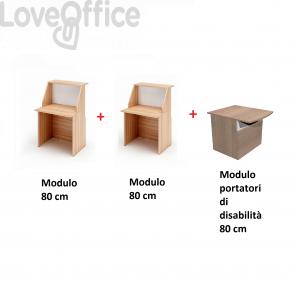 Bancone reception lineare Musa Artexport con banco portatori disabilità - Noce arabis - 240 cm