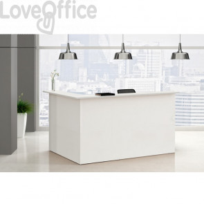 Bancone reception lineare Musa Artexport - Bianco - 196x76 cm