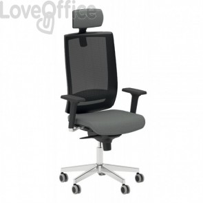 Poltrona ufficio ergonomica KIND UNISIT - fili di luce - GRIGIO SCURO - KIPGN/F14