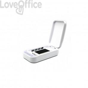 Sterilizzatore UV portatile GekoClean per smartphone e mascherine, bianco, con caricabatterie e diffusore LKM-GERM01WH