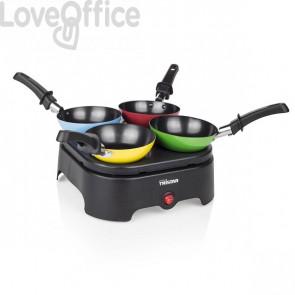 Wokset tristar nero - piastra elettrica, quattro wok, spatole e cucchiaio per pastella