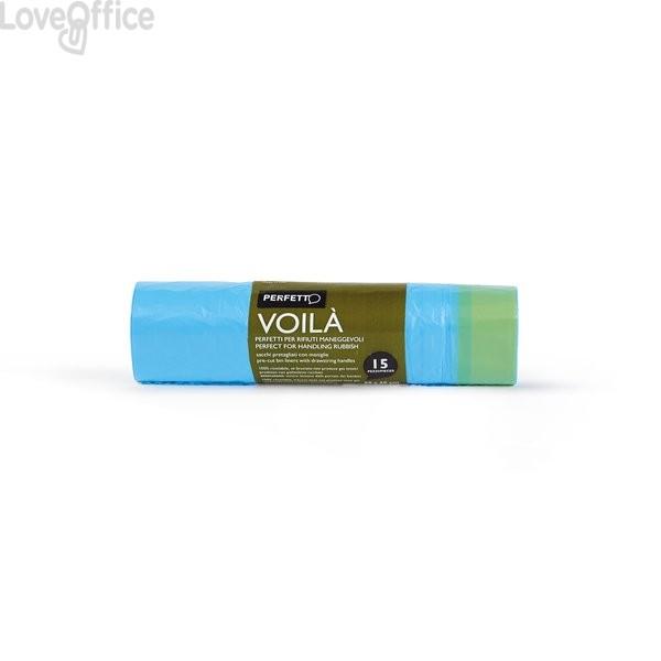 Sacco immondizia con maniglie La Piacentina - 30 l - azzurro - 0359C (conf.15)