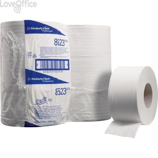 Carta Igienica mini Jumbo SCOTT® Kimberly Clark - 2 veli - 526 strappi - 175m - Ø 17,5cm - 7,6cm - 85125 (conf.12)