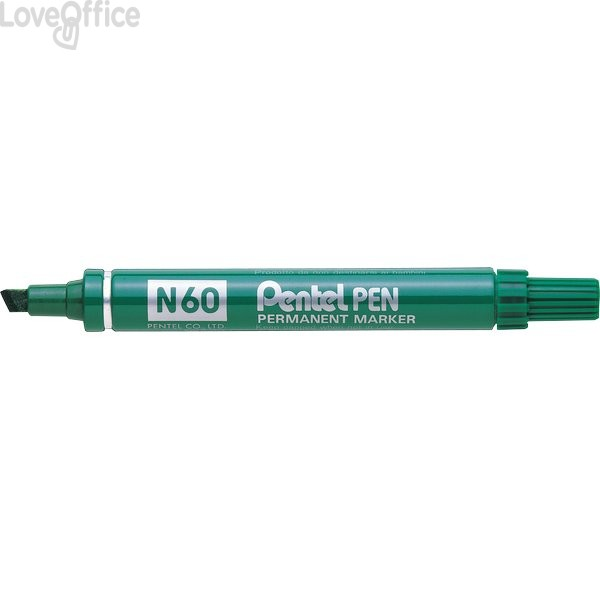 Pentel pennarello indelebile verde - Pentel N60 - a scalpello - 3,9-5,5 mm