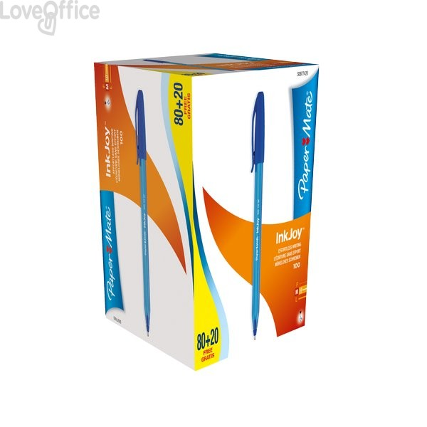 Papermate InkJoy 100 - blu - 1 mm - Penne a sfera con cappuccio (conf.100)
