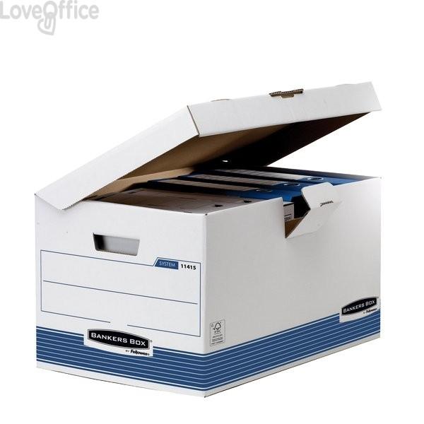 Scatole in cartone riciclato con coperchio ribaltabile - 36,5x55x30,4 cm - Sistema di archiviazione Bankers Box System Fellowes (conf.10)
